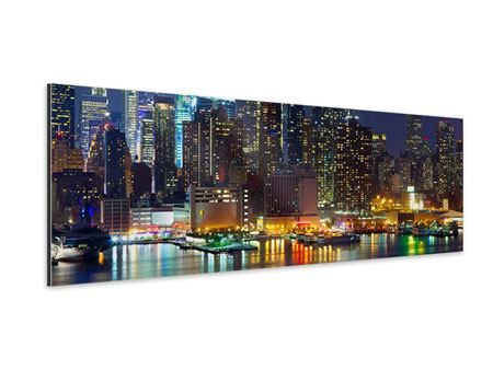 XXL Aluminiumbild Panorama Skyline New York Midtown bei Nacht