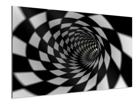 XXL Aluminiumbild Abstrakter Tunnel Black & White